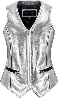 Smart Range Leather Ladies Silver Foil Waistcoat Real Lambskin Slim-fit Vest Gilet 5678