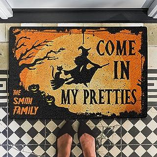 Witch Halloween Door Mat Spider Web Come in My Pretties Custom Doormat Front Door Mat Indoor Halloween Decorations Clearan...