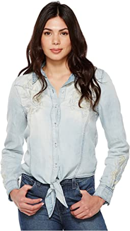 Denim Embroidered Shirt with Knotting Detail in Washed Up