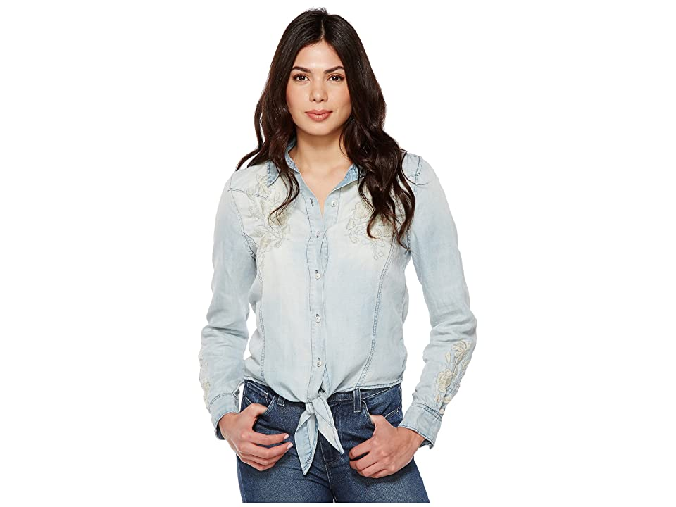 Blank NYC Denim Embroidered Shirt with Knotting Detail in Washed Up (Washed Up) Women