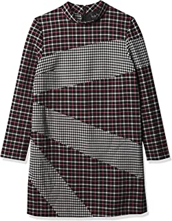 Nicole Miller Women's Reverse Plaid Mock Neck Dress