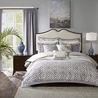 Madison Park Signature Stein King Size Bed Comforter Duvet 2-In-1 Set Bed In A Bag - Grey , Paisley – 9 Piece Bedding Sets – Cotton Bedroom Comforters