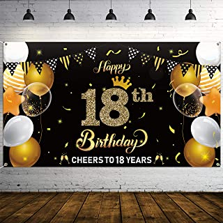 """WATINC Happy 18th Birthday Backdrop Banner Official Teenager Background Banners 78"""" x45"""" Extra Large Backdrops Balloons B..."""