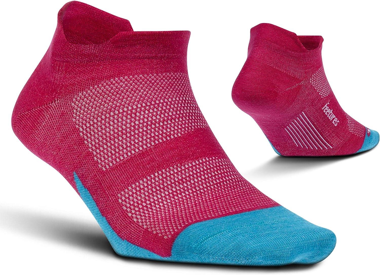 Feetures Merino 10 Ultra Light No Show Tab Sock Solid (Medium, Quasar Pink)