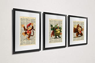 K-Rool Donkey Kong Diddy Kong Super Smash Bros Dictionary Art Series of 3