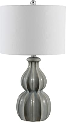 Safavieh Lighting Collection Wade Grey Double Gourd Ceramic 25-inch Bedroom Living Room Home Office Desk Nightstand Table Lamp (LED Bulb Included)