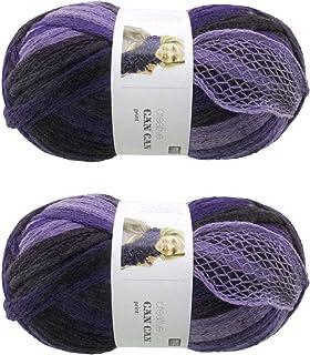 BambooMN Brand - 2 Skeins - Fishnet, Ruffle Fancy Scarf Yarn - 200g (60m), 100% Acrylic Yarn - Fused Purple