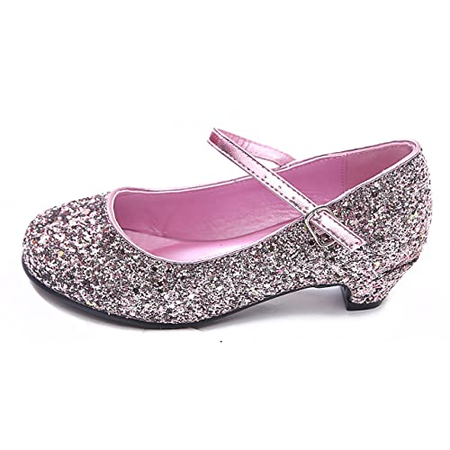 361e7372b90f (BS-41) - New Girls Kids Childrens Mary Jane Glitter Low Kitten Heel