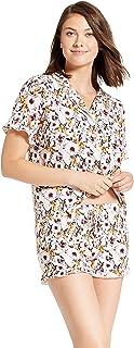 Womens Cami Pajama Sets with Sleeveless Lace Shirt and Elastic Shorts