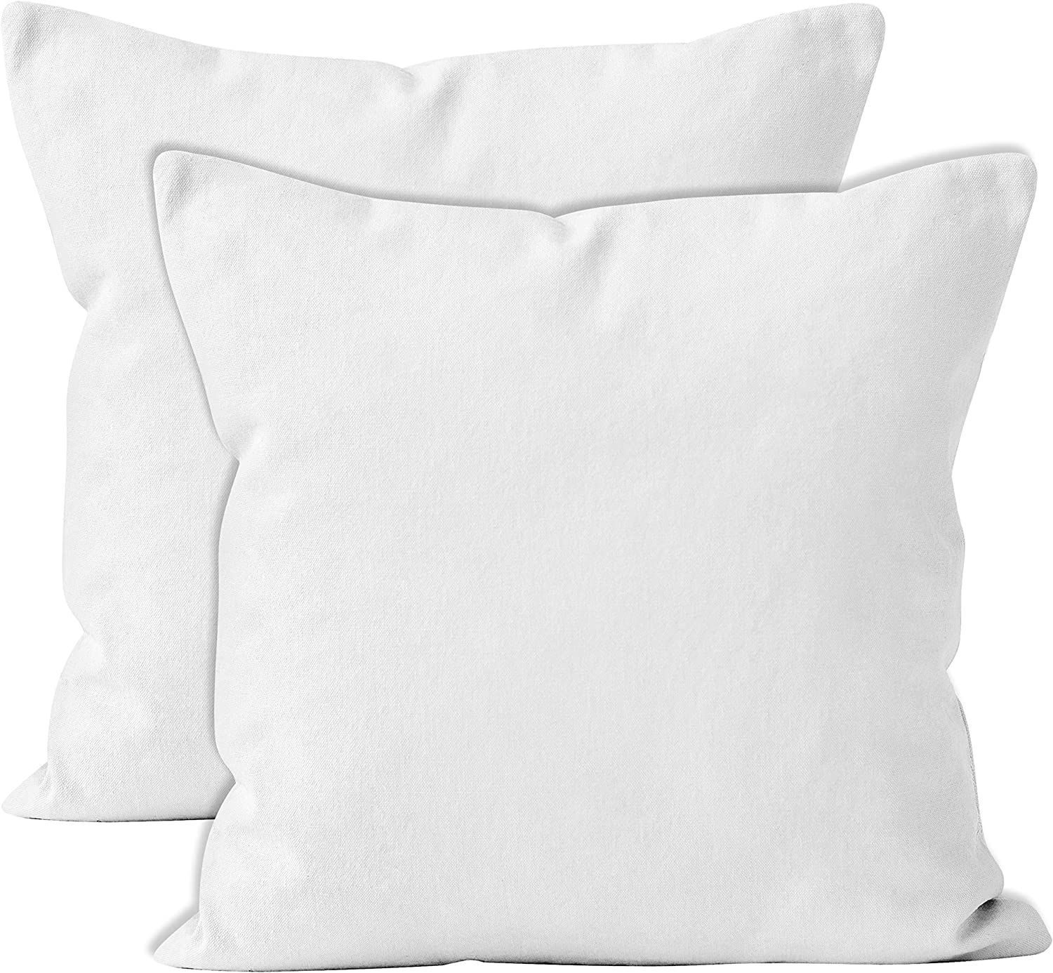 Encasa Homes Throw Pillow Cover 2pc Set - White - 18 x 18 inch Solid Dyed Cotton Canvas Square Accent Decorative Cushion Case for Couch Sofa Chair Bed & Home