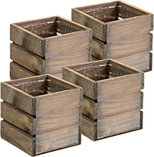 Wood Planter Box with Wine Crate Styled, 5 Inch Square, Rustic Barn Wood, Plastic Liner, Garden Centerpiece Display, Wedding Flowers Holder, Home and Venue Decor, (5x5 Wine Crate Set of 4)