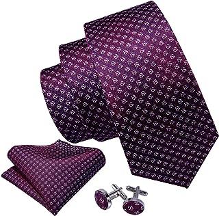 Barry.Wang Mens Ties Novelty Silk Tie Hanky Cufflinks Set Woven Designer