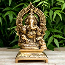Aakrati Lord Ganesha Sitting Statue On A Throne of Brass Brown