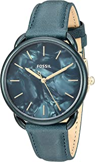 Fossil Tailor Women's Teal Green Dial Three-Hand Leather Watch - Es4423, Analog Display