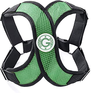 Gooby - Perfect Fit X Harness, Small Dog Choke Free Step-in Harness with Synthetic Lambskin Soft Strap, Hunter Green, Medium