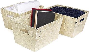 "One Design Designer Brand Set of 3 Nylon and Lurex Strap BIN Set (12"" x 9"" x 7"") (Ivory)"