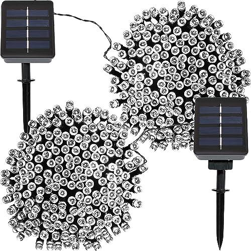 popular Sunnydaze outlet online sale outlet sale Set of 2, 68 Foot 200-Count Solar Powered String Lights Outdoor Decorative, White online