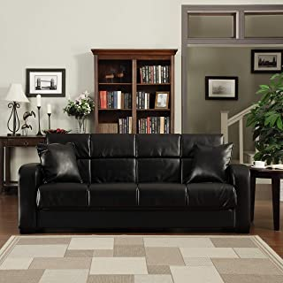 Turco Convert-a-Couch Black Renu Leather Futon Sofa Sleeper Traditional Transitional Urban Solid Fabric Multi-Position Reclining