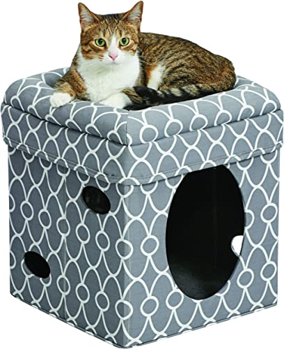 Cat Cube | Cozy Cat House/Cat Condo in Fashionable Gray Geo Print | 15.5L x 15.5W x 16.5H Inches