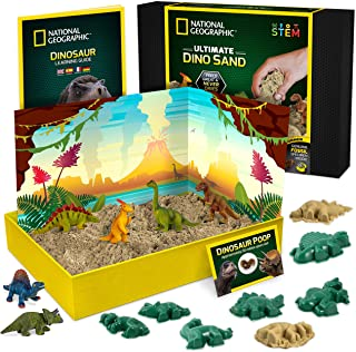 NATIONAL GEOGRAPHIC Dinosaur Play Sand - 907g of Play Sand, 6 Moulds, 6 Dinosaur Figures, A Kinetic Sensory Sand Activity ...