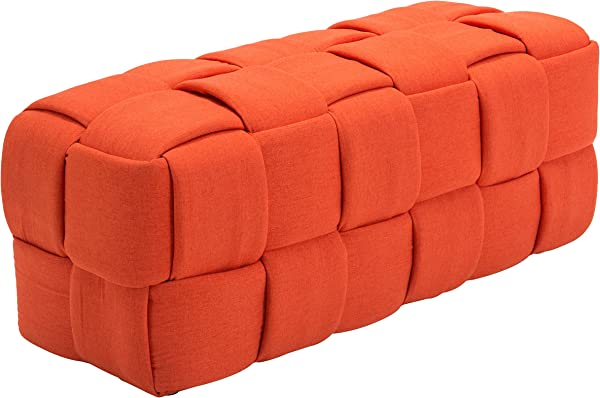 Zuo Modern 100639 Checks Bench Orange Large Weave Rectangular Bench Bold Design Is Lightweight 250 Lbs Weight Capacity Dimensions 51 2 W X 19 7 H X 19 7 L