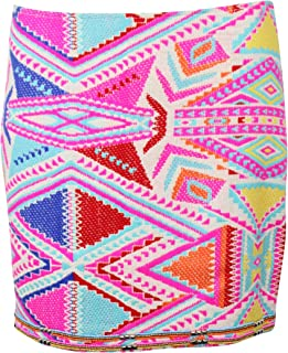 Womens Neon Aztec Skirt Ecru Extra Small