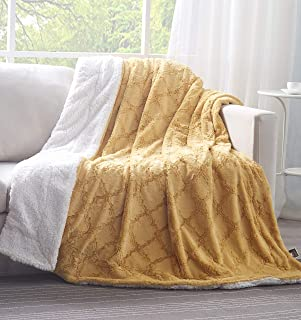 Tache Mustard Yellow Moroccan Lattice Pattern Super Soft Warm Faux Fur Throw Blanket, 50x60