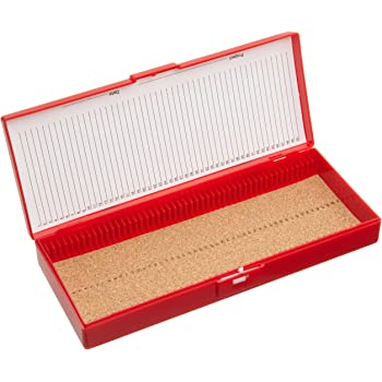"Heathrow Scientific HD15996B Red Cork Lined 50 Place Microscope Slide Box, 8.3"" Length x 3.38"" Width x 1.25"" Height"