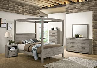 Kings Brand Furniture – Harley 6-Piece Queen Size Bedroom Set, Light Grey. Bed, Dresser, Mirror, Chest & 2 Night Stands