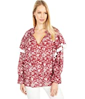 Graphic Peonies Cotton Voile Blouse