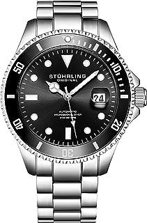 Stuhrling - Original Ed. Ltd Reloj de Buceo Cuerda Automática para Hombre con Dial Negro Resistente al Agua a 200M Unidireccional con Bisel Trinquete y Pulsera Acero INOX. Sólido, Corona De Rosca