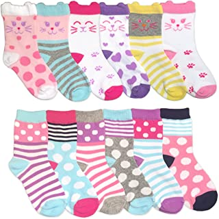 Jefferies Socks Girls Fun Fashion Cats/Dots/Stripes Pattern Variety Crew Socks 12 Pair Pack