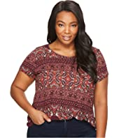 Lucky Brand - Plus Size Ornate Border Tee