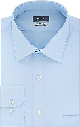 Van Heusen Camisa de vestir con cuello extendido sólido en espiga para hombre