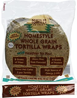 Santa Fe Tortilla Company Home Style Whole Grain Wraps with Flaxseed, 20 Count (Pack of 4)