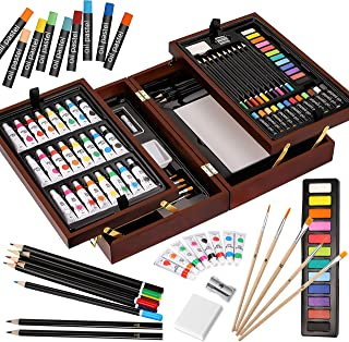 Vigorfun Deluxe Art Set in Wooden Case, with Soft & Oil Pastels, Acrylic & Watercolor Paints, Water Color, Sketching, Char...