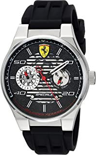 Ferrari Men's Speciale Stainless Steel Quartz Watch with Rubber Strap, Black, 25 (Model: 830429)