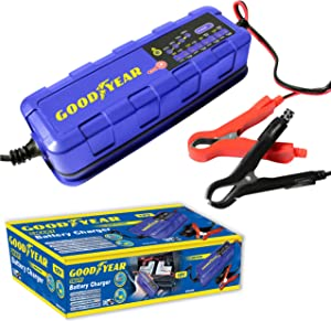 Goodyear Smart Battery Trickle Charger Maintainer for 12v Lead Acid  amp  Gel Batteries