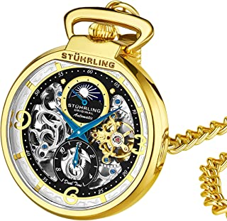 Orignal Mens Pocket Watch Automatic Watch Skeleton Watches for Men -Gold Pocket Watch - Mechanical Watch with Belt Clip and Stainless Steel Chain -Dual Time AM/PM Subdial