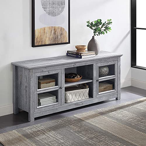 new arrival BELLEZE Modern Farmhouse Wood TV outlet online sale Stand & wholesale Media Entertainment Center Console Table for TVs up to 65 Inch with Open Storage Shelves & Cabinets - Kenton (Light Gray) online