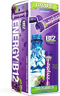 Zipfizz Healthy Energy Drink Mix, Hydration with B12 and Multi Vitamins, Grape, 20 Count