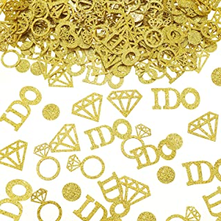 Zonon 560 Pieces Gold Wedding Table Confetti Gold Diamond Ring Confetti I Do Engagement Party Table Scatter for Wedding En...