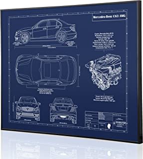 Mercedes-Benz C63 AMG Sedan Blueprint Artwork-Laser Marked & Personalized-The Perfect Mercedes-Benz Gifts
