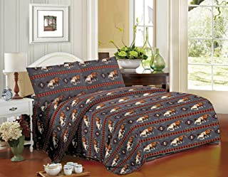 Rugs 4 Less Equestrian Rustic Southwestern Native American Western Cowboy Sheet Set with Running Mustangs and Tribal Patterns - Horse Stampede Grey King Sheet