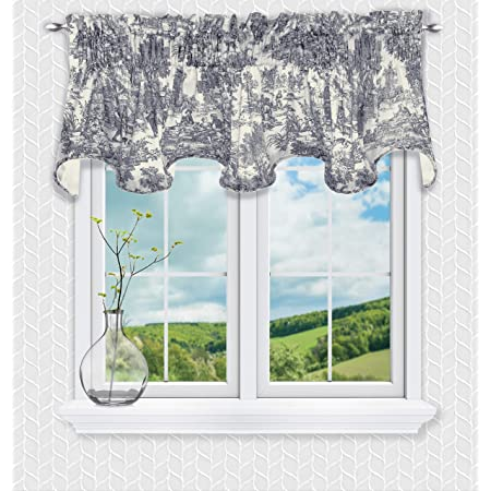 Amazon Com Victoria Park Toile 70 X 15 Lined Scallop Valance Blue Furniture Decor