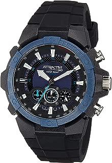 Q&Q Men's Blue Dial Silicone Band Watch - Da90J004Y, Black Band, Analog Display