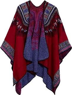 Women's Vintage Pattern Open Front Poncho Cape Shawl