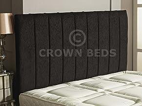 CROWNBEDSUK Apollo Chenille HEADBOARD 2ft6,3ft,4ft,4ft6,5ft,6ft Black, 6ft (Super Kingsize)