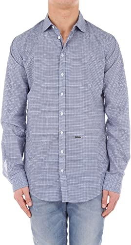 Dsquarouge2 4848W Camicia hommes Checked bleu Shirt Hommes