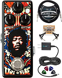MXR JHW3 Authentic Hendrix '69 Psych Series Uni-Vibe Chorus/Vibrato Pedal Bundle with Blucoil Slim 9V 670ma Power Supply AC Adapter, 10-FT Mono Instrument Cable, 2x Patch Cables, and 4x Guitar Picks